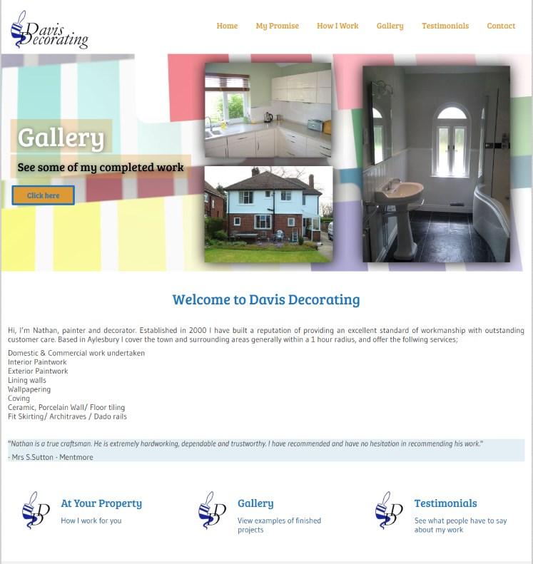 Davis Decorating Db Website Design